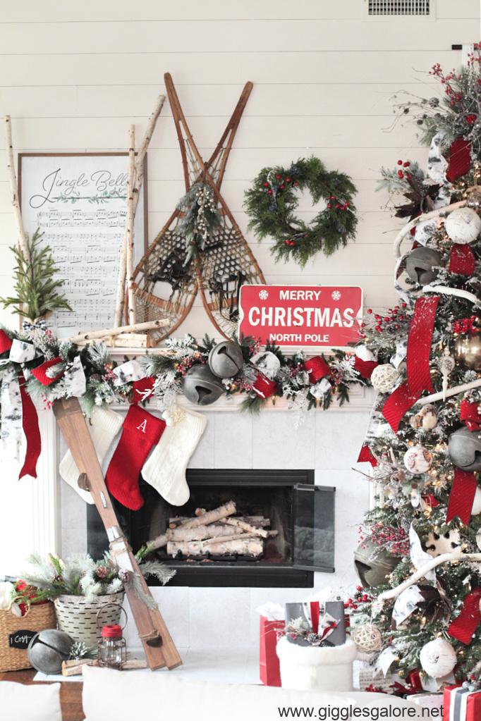 Snow shoes mantel decorations