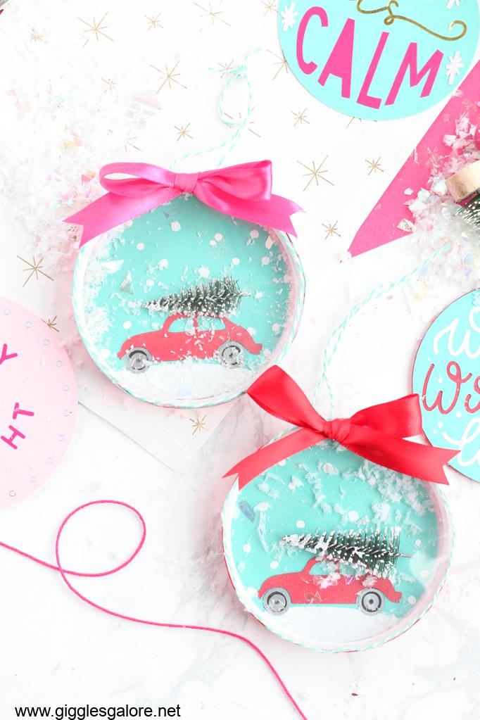Cricut made snow globe ornaments