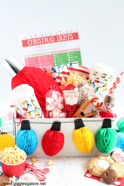 Holiday christmas light scavenger hunt kit
