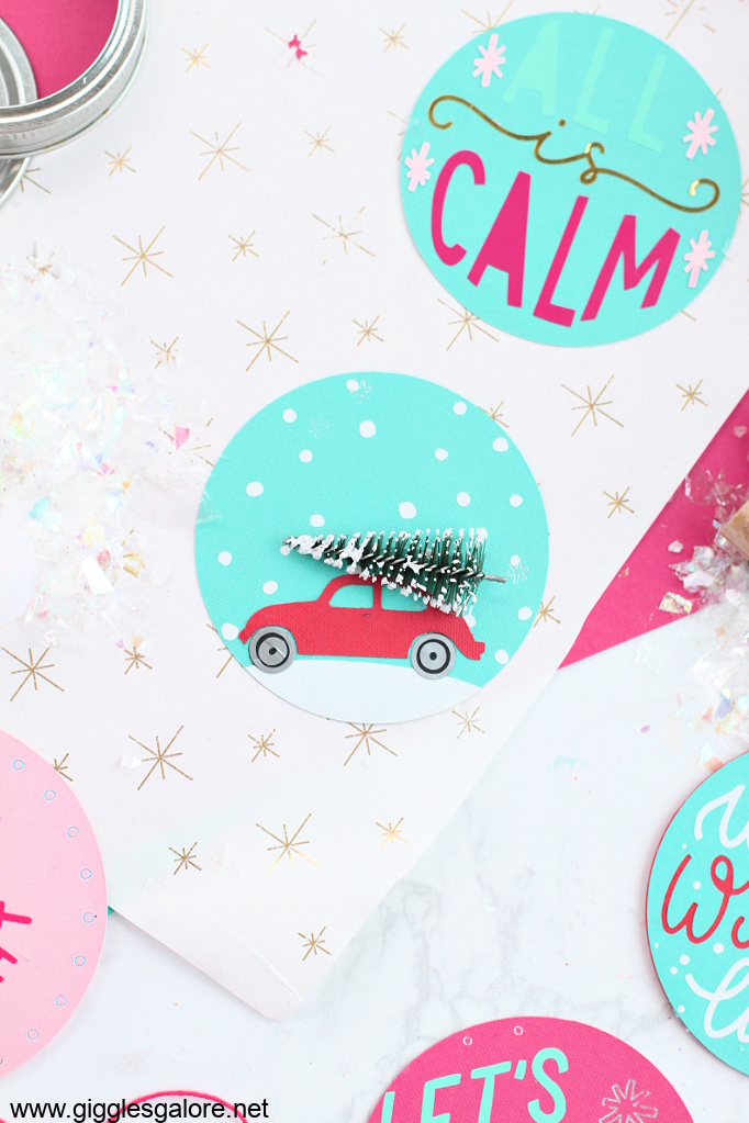 Vintage holiday car with tree tag
