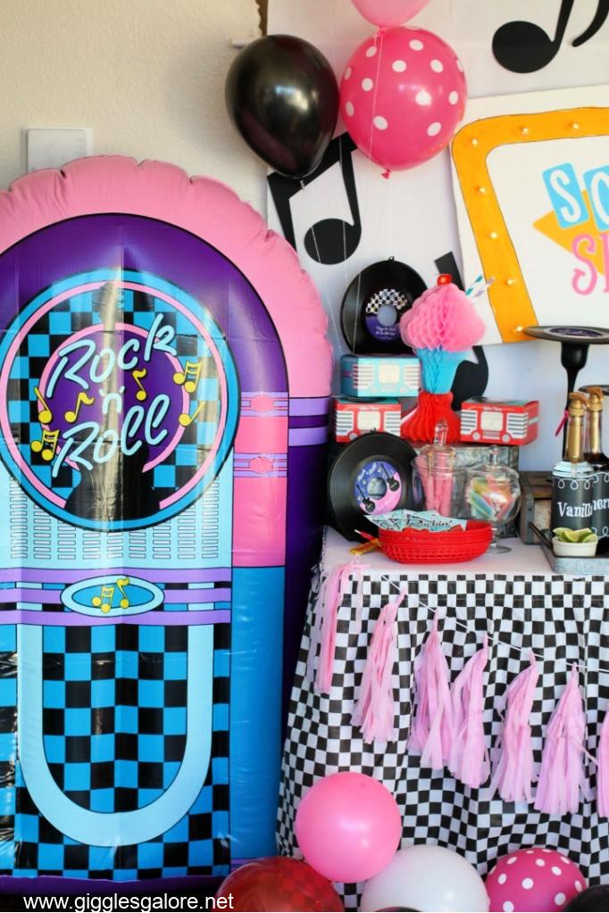 Inflatable juke box sock hop party