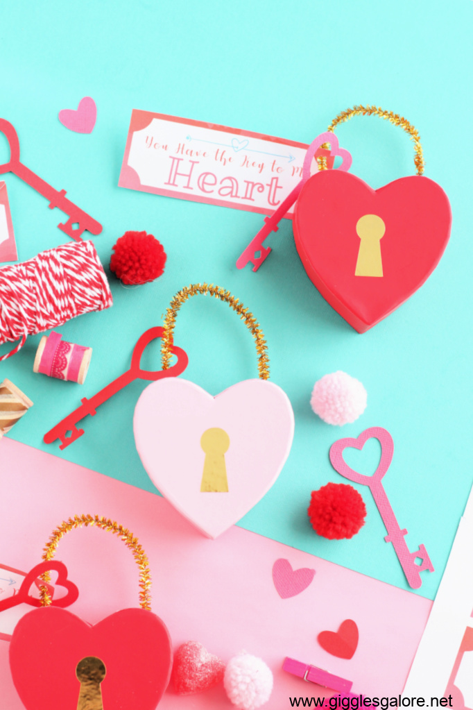 Diy lock and key heart valentine boxes