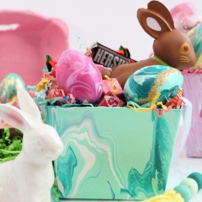 DIY Acrylic Paint Pour Easter Basket