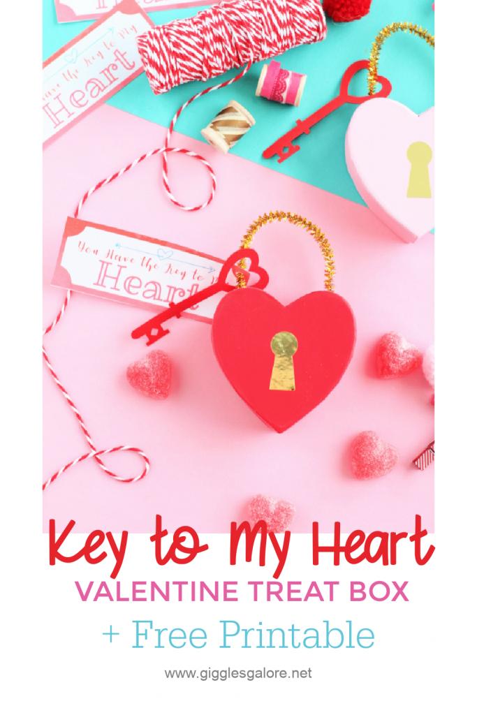 Key to my heart valentine treat box and printable