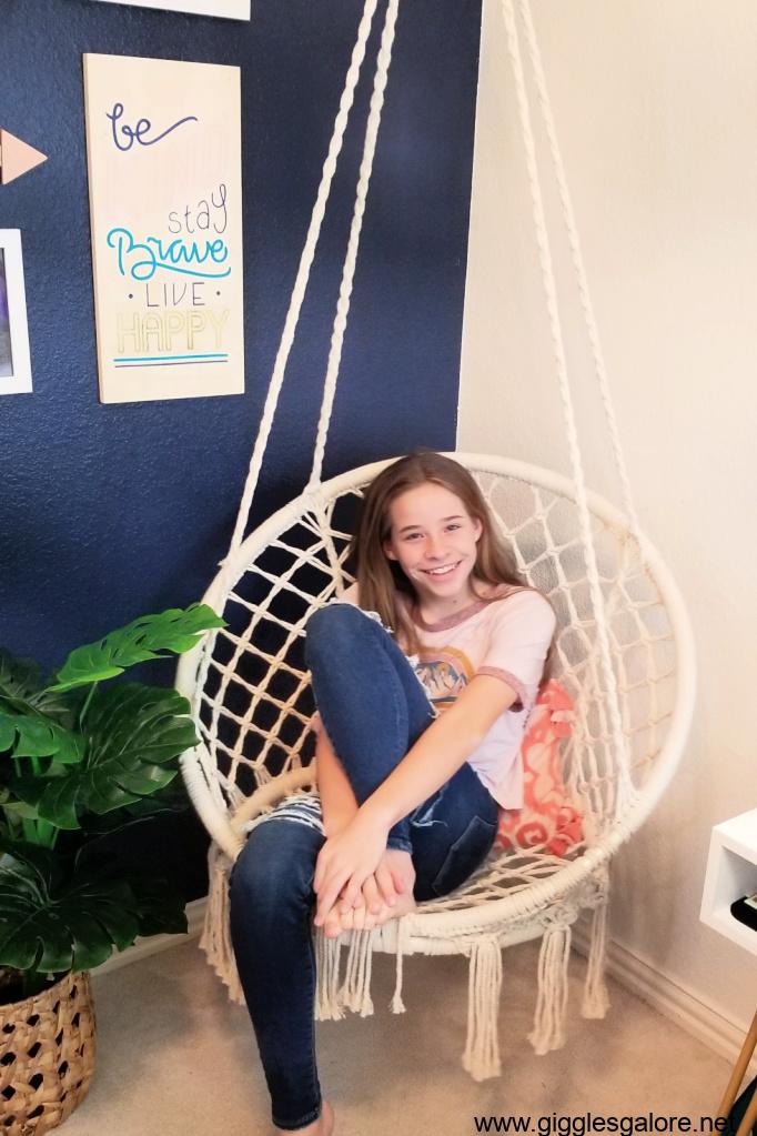 Boho hanging chair in bedroom