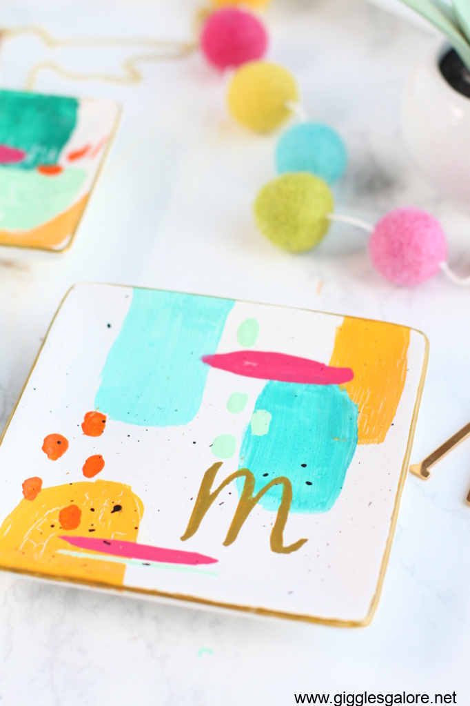Diy brushstroke monogram ring dish