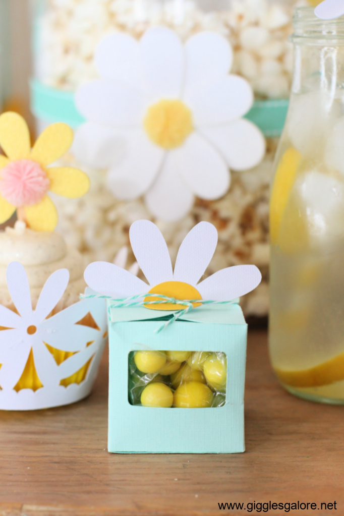 Diy daisy favor box with candy