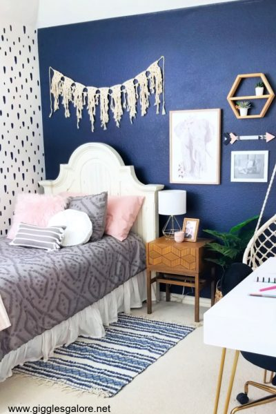 Navy boho bedroom makeover