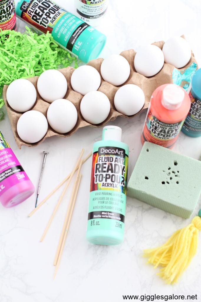 Paint pour easter egg supplies