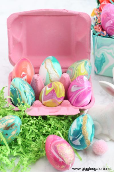 Paint pour easter eggs in carton