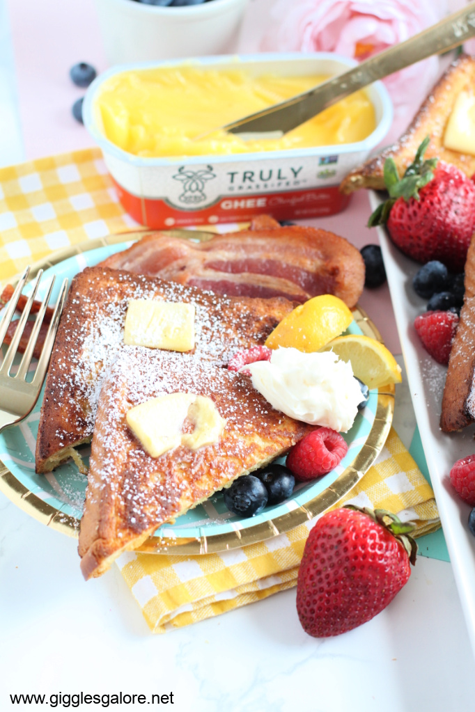 Plate of golden french toast