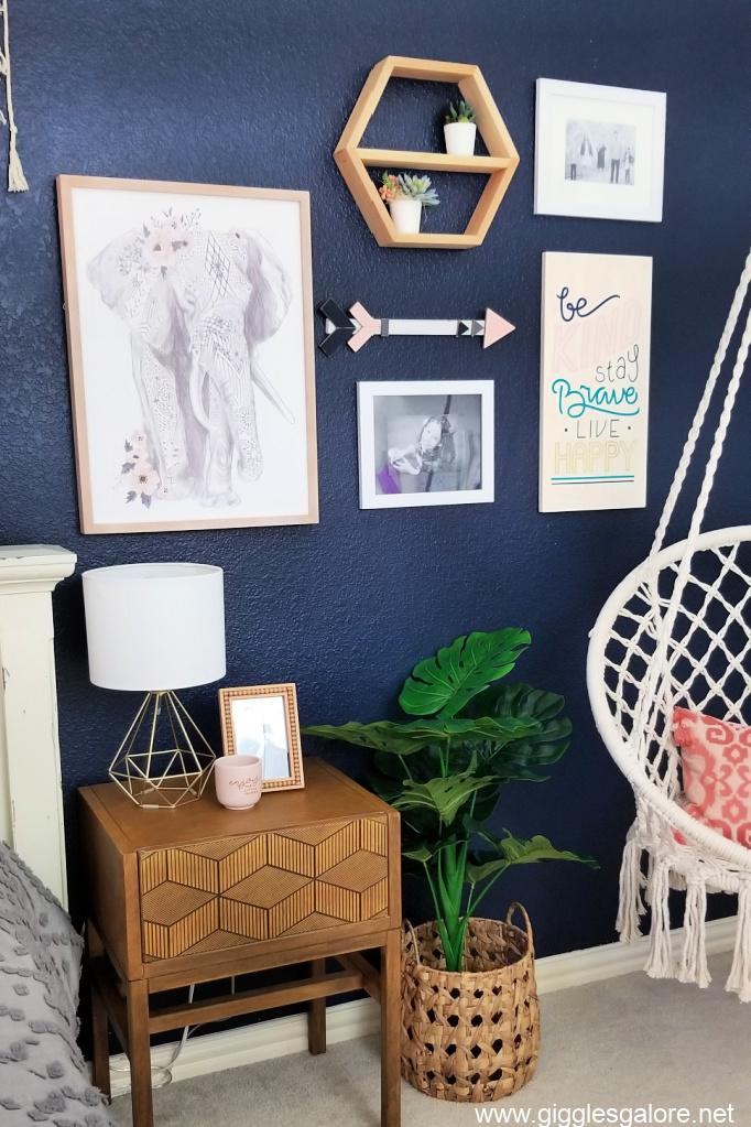 Teen boho bedroom gallery wall