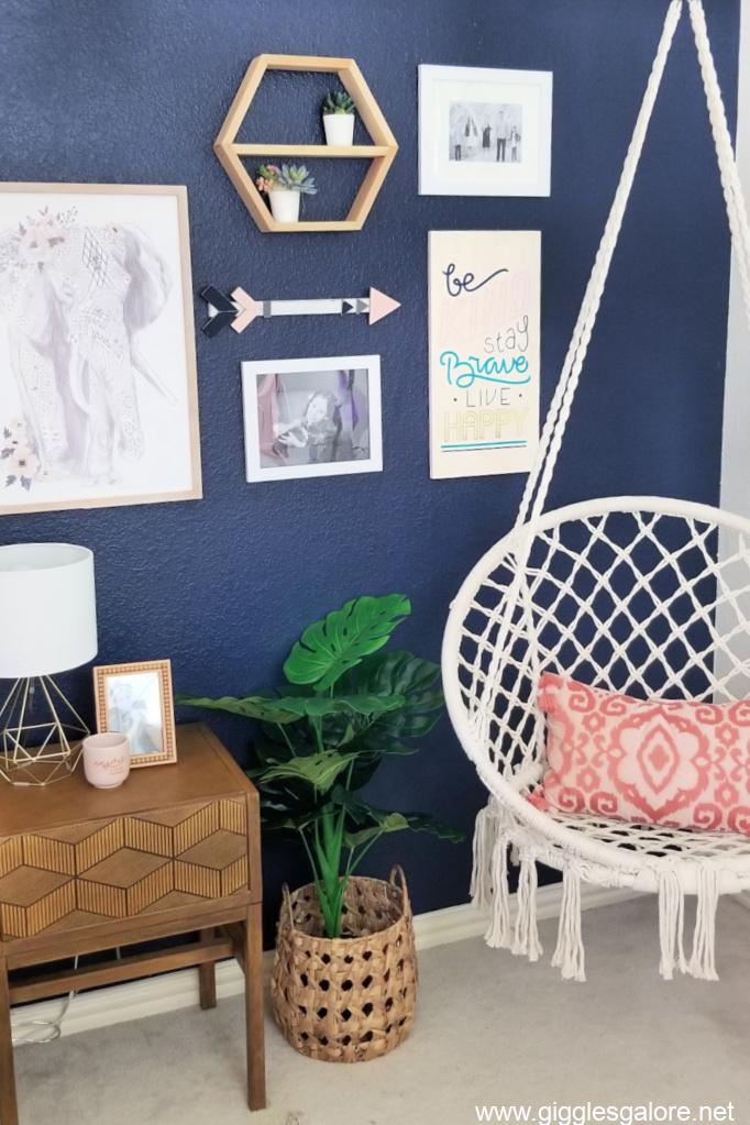 Teen boho bedroom hanging chair