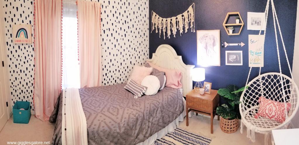 Teen girl boho bedroom makeover 1