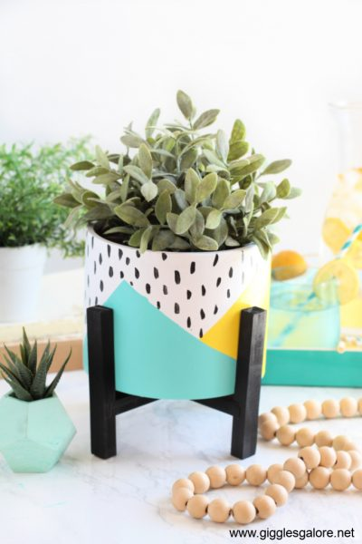 Diy front porch colorblock flower pot