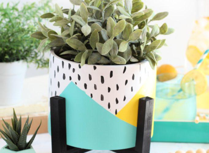 Diy front porch colorblock flower pot