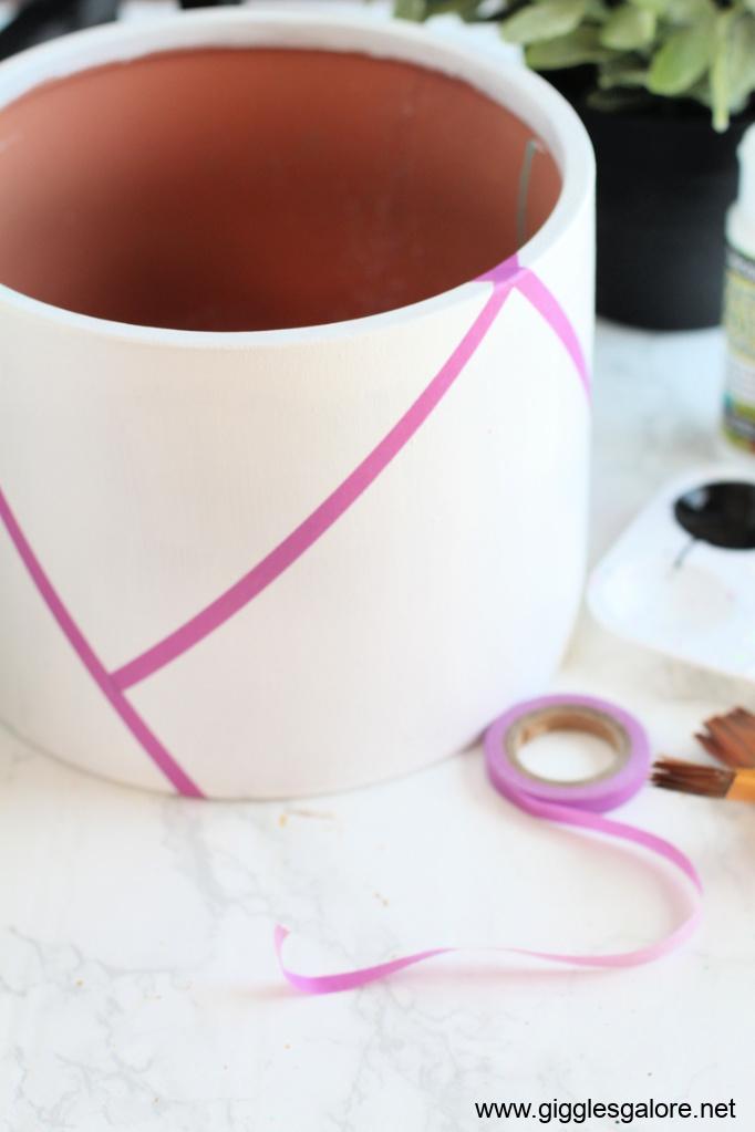 Modern colorblock flower pot step 2