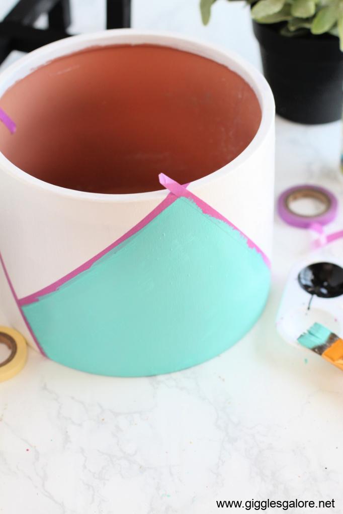 Modern colorblock flower pot step 3