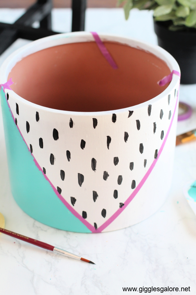 Modern colorblock flower pot step 4