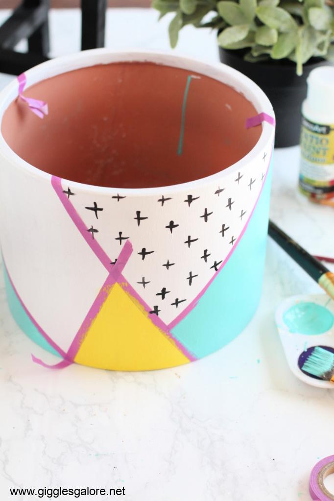 Modern colorblock flower pot step 5