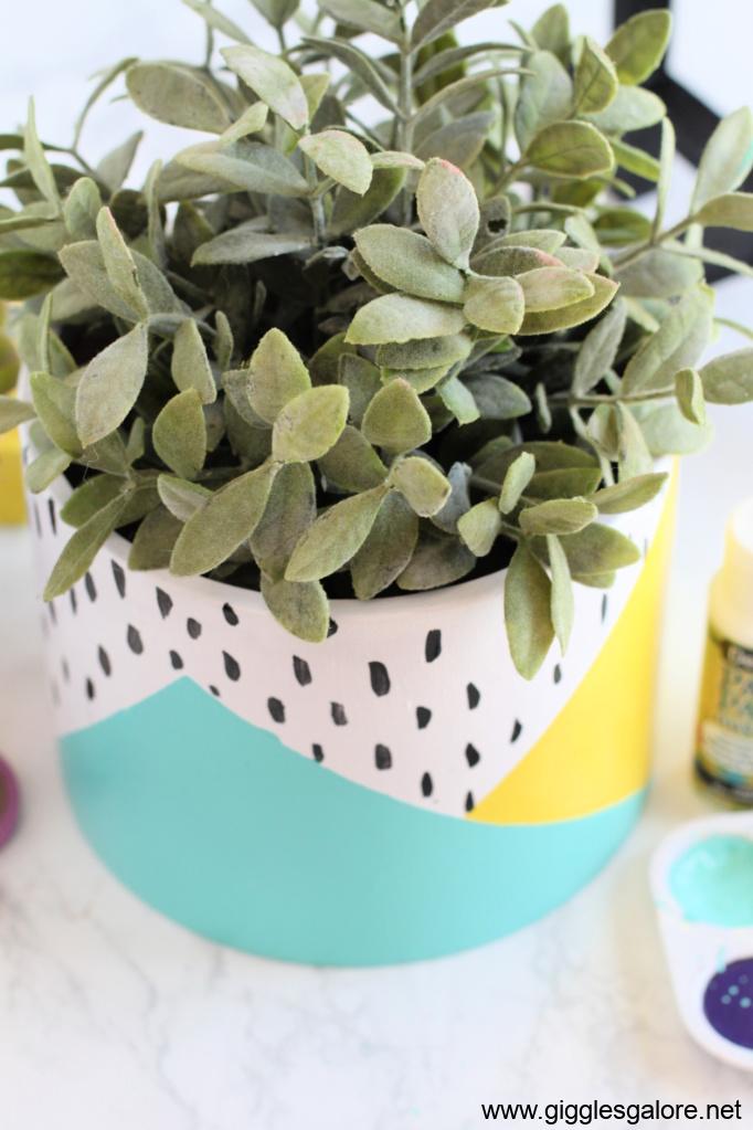 Modern colorblock flower pot step 7