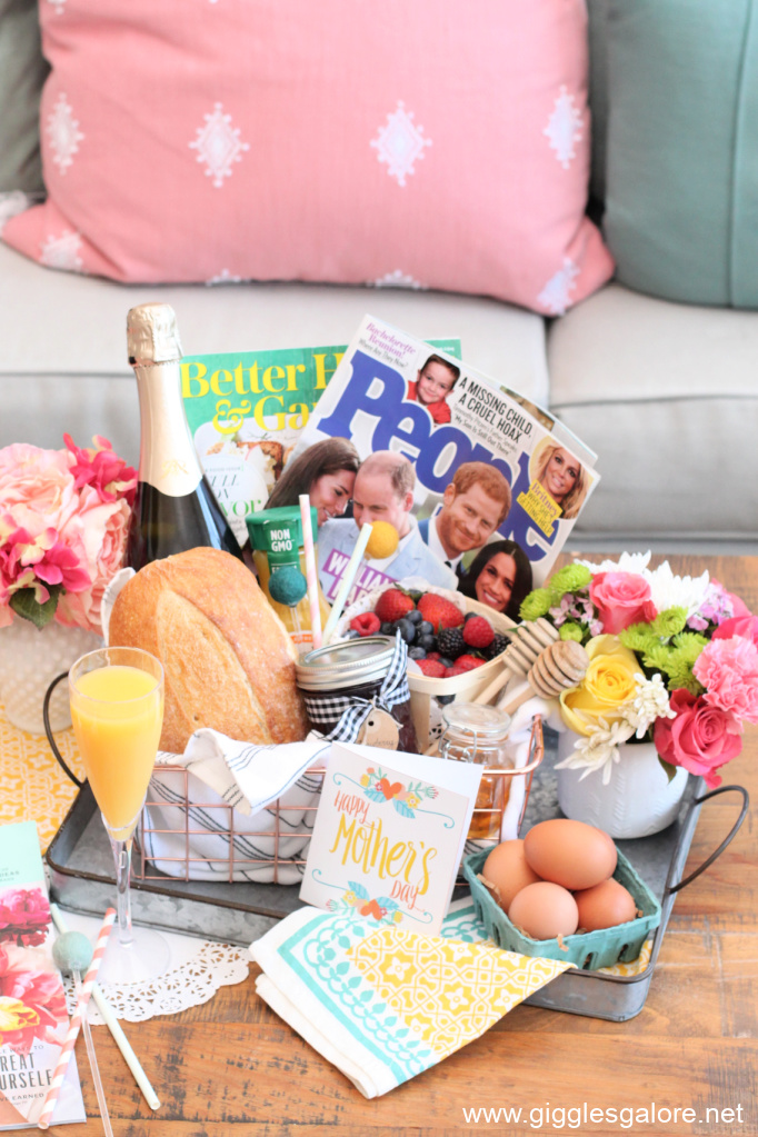 Mothers day breakfast in bed gift basket