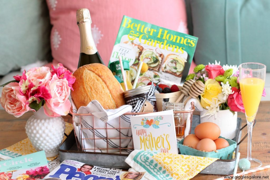 Mothers day brunch basket and magazines gift idea