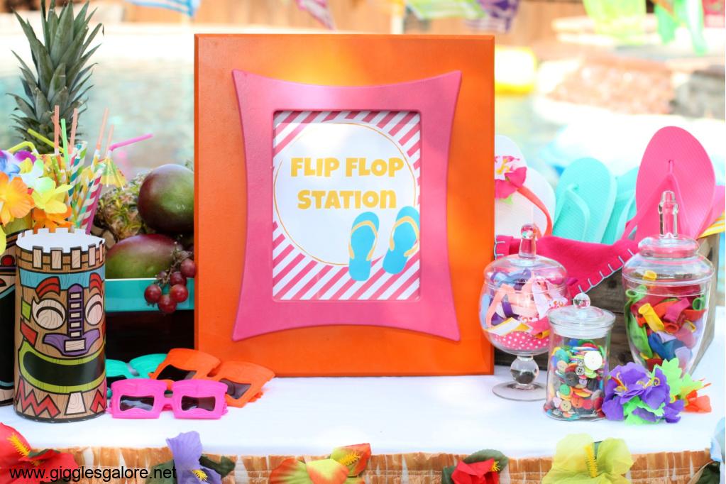 Tiki party diy flip flop station