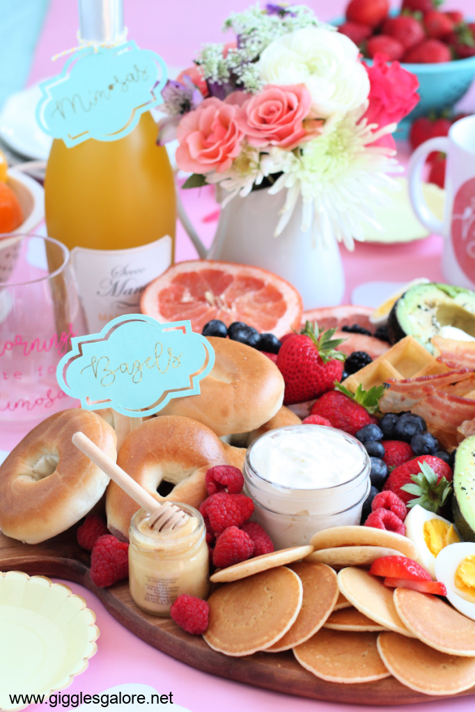 Brunch Charcuterie Board Bagels and Pancakes