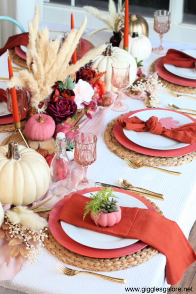 Pink and Orange Fall Table Setting