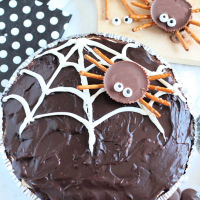 Spider Web Chocolate Peanut Butter Cup Pie