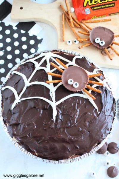 Halloween Spider Web Chocolate Pie