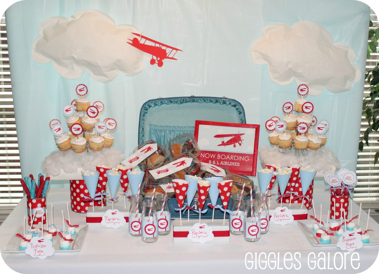 Now boarding b l airlines airplane party for Airplane decoration ideas