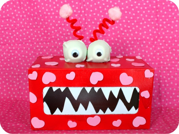 a tissue box is the base of this monster inspired valentine mailbox that kids will love feeding with notes and treats - Valentine Mailboxes