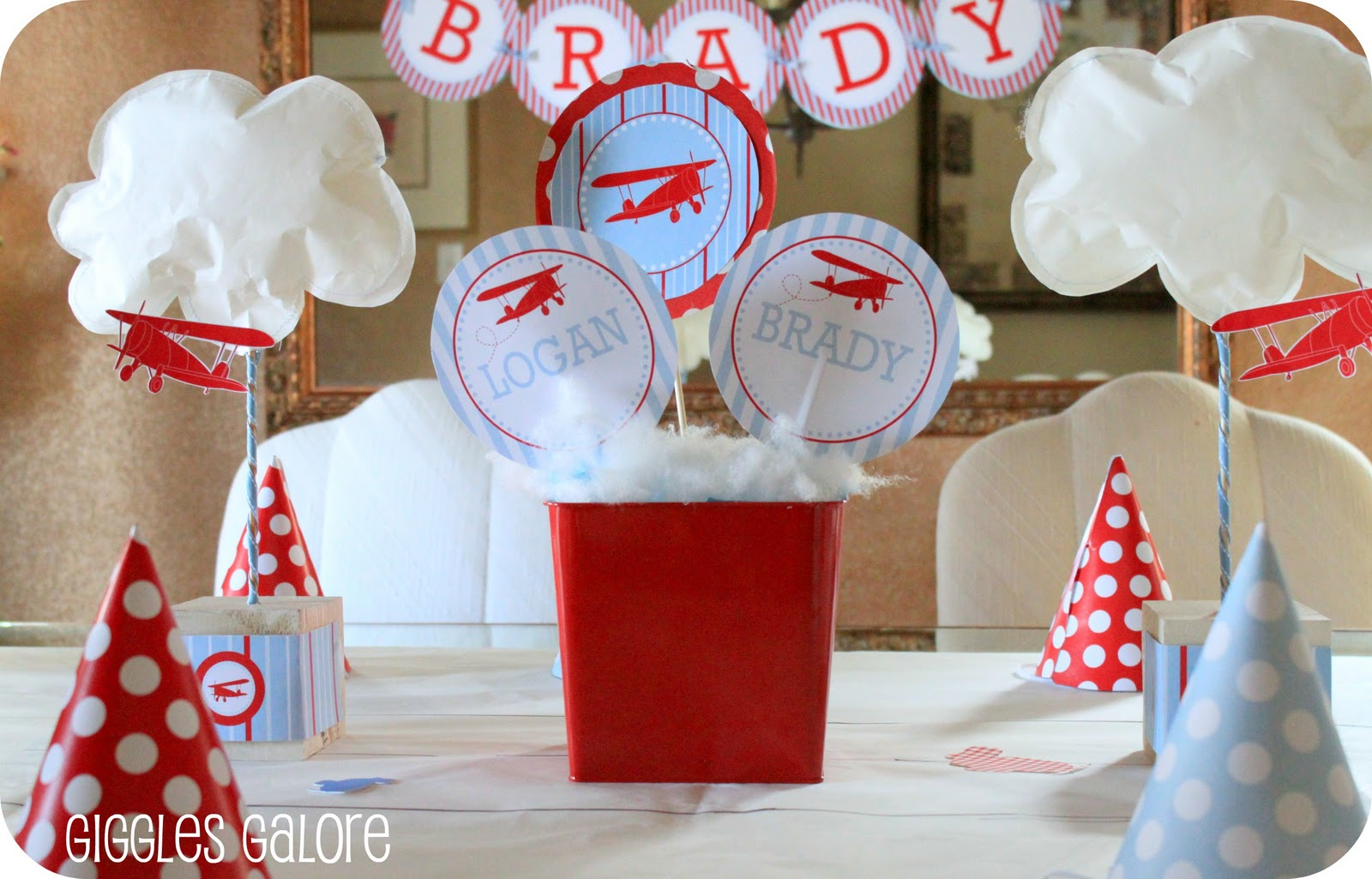 Now boarding b l airlines airplane party for Airplane baby shower decoration ideas