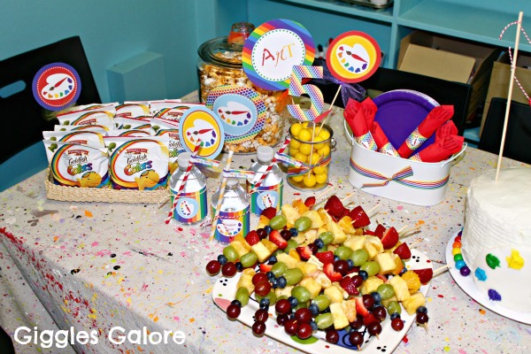 There Were Rainbow Colored Goldfish Fruit Kabobs Artist Popcorn Cake Balls And A
