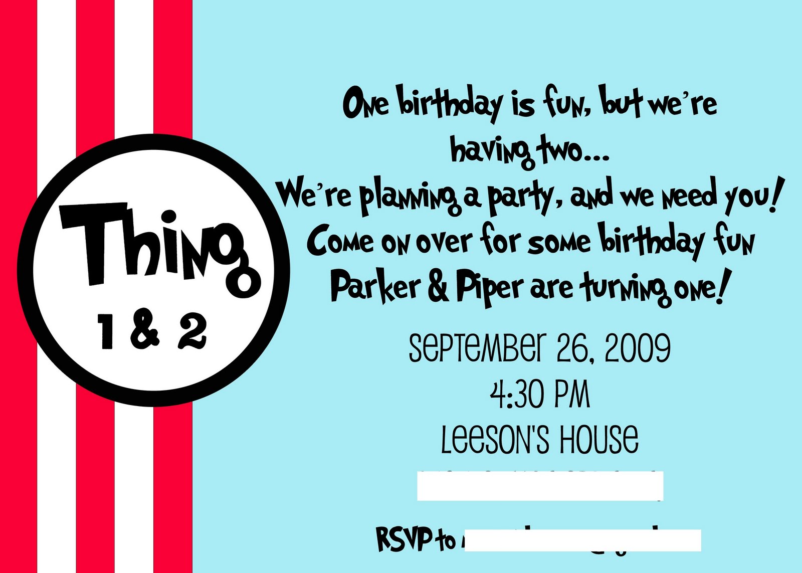 Dr Seuss Thing 1 2 Birthday Party